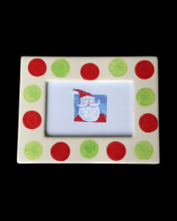 pitter-platters-frame-green-red-polka-dotted