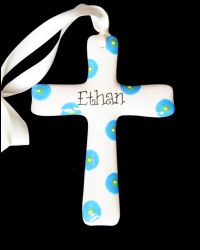 Pitter Platters Cross Collection Blue Lime Polka Dotted
