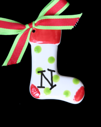 Pitter Platters Puffy Lime Dotted Stocking