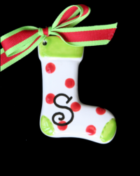 Pitter Platters Puffy Red Dotted Stocking
